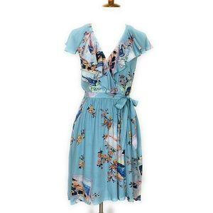 Anthropologie Maeve Rosalia Wrap Dress Blue M